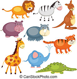 Wild animals - Set of cartoon cute wild animals, isolated...