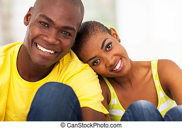 cute black couple close up - close up portrait of cute black...