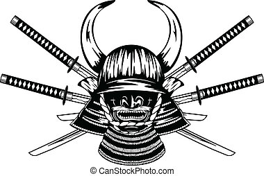samurai helmet and crossed katanas