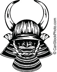 samurai helmet with horns menpo with yodare-kake - Vector...