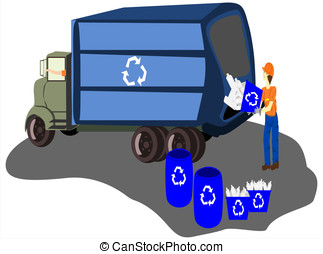 recycle truck workers - vector in editable eps format, blue...
