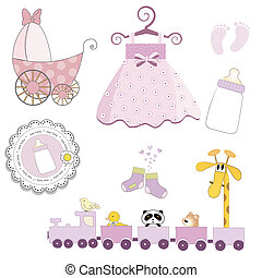 baby girl items set isolated on white background, vector...
