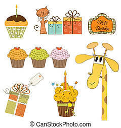 set of cupcake and other bithday items isolated on white background