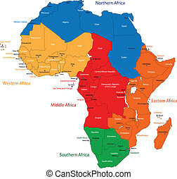 Africa map - Colorful regions of Africa with countries and...