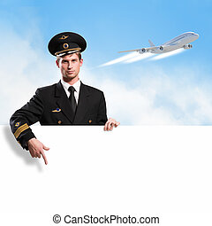 pilot in the form of holding an empty billboard on the...