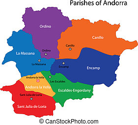 Andorra map - Map of administrative divisions of...