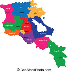 Armenia map - Map of administrative divisions of Republic of...
