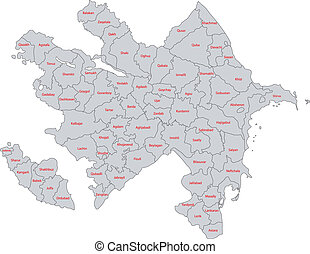 Gray Azerbaijan map - Map of administrative divisions of...