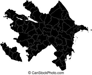 Black Azerbaijan map - Map of administrative divisions of...