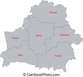 Gray Belarus map - Map of administrative divisions of...