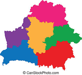 Belarus map - Map of administrative divisions of Republic of...