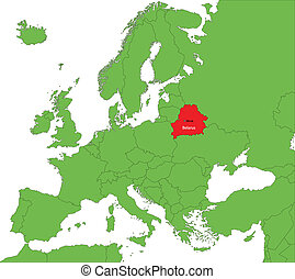 Belarus map - Location of Belarus on the Europa continent