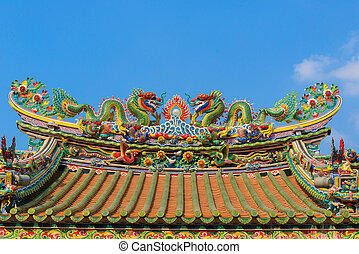 Roof on temple of chinese