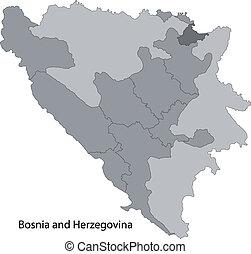 Gray Bosnia and Herzegovina map - Map of administrative...