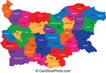 Bulgaria map - Map of administrative divisions of Bulgaria