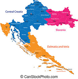 Croatia map - Map of administrative divisions of Republic of...