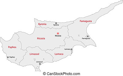 Grey Cyprus map - Map of administrative divisions of Cyprus...