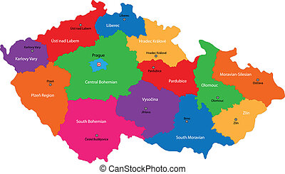 Czech Republic map - Regions of the Czech Republic with...