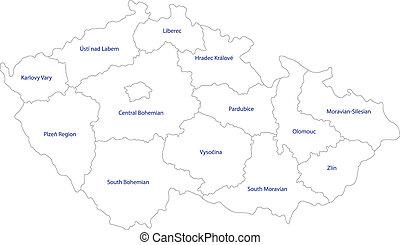 Outline Czech Republic map - Regions of the Czech Republic
