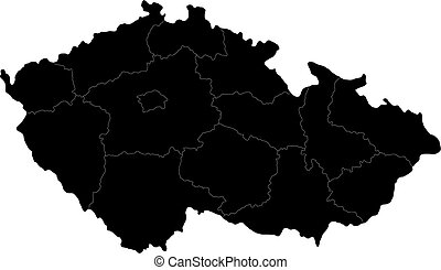 Black Czech Republic map - Regions of the Czech Republic