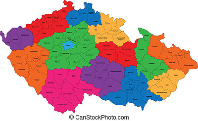 Czech Republic map - Map of administrative divisions of the...