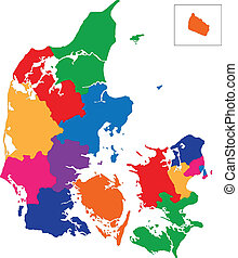 Denmark map - Map of administrative divisions of Denmark