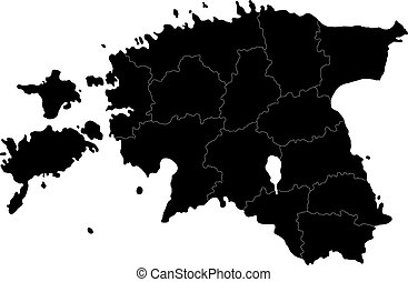 Black Estonia map - Map of administrative divisions of...