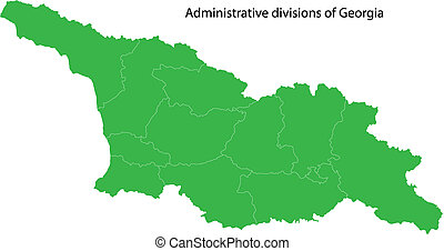 Green Georgia map - Map of administrative divisions of...