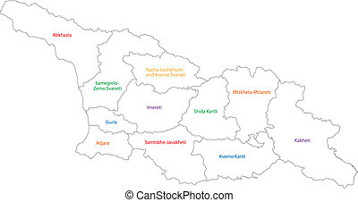 Outline Georgia map - Map of administrative divisions of...