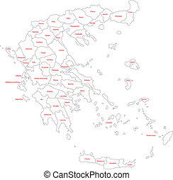 Outline Greece map - Map of administrative divisions of...