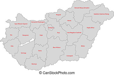 Gray Hungary map - Map of administrative divisions of...