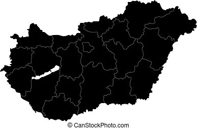 Black Hungary map - Map of administrative divisions of...