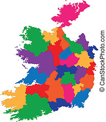 Ireland map - Map of administrative divisions of Republic of...