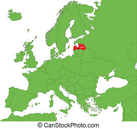 Latvia map - Location of Latvia on the Europa continent