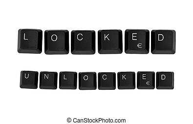 LOCKED and UNLOCKED sign written on a keyboard Isolated on a...