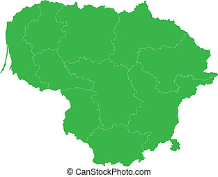 Green Lithuania map - Administrative division of the...