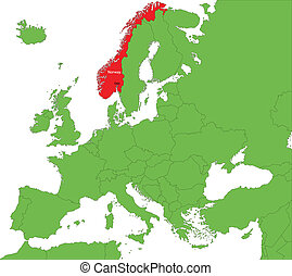 Norway map - Location of Norway on the Europe continent