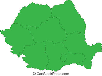Green Romania map - Administrative division of the Romania...