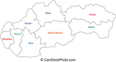 Outline Slovakia map - Administrative division of the Slovak...