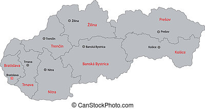 Gray Slovakia map - Administrative division of the Slovak...