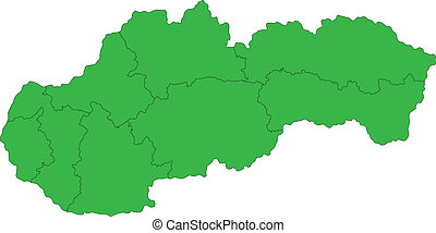 Green Slovakia map - Administrative division of the Slovak...