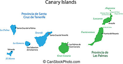 Canary Islands map - Administrative division of the Canary...