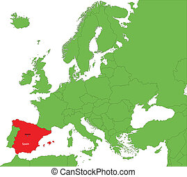 Spain map - Location of Spain on the Europe continent