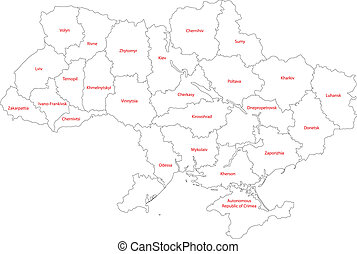 Outline Ukraine map with provinces