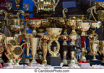 Winning trophies - Set of trophies for the winners.