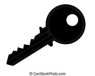Latch Key - Silhouette of a latch key, details with dark...