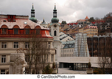 Cityscape with Saint Mary Magdalene church Karlovy Vary...