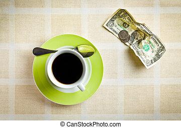 norteamericano, moneda, café, taza