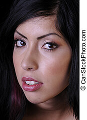 Beautiful hispanic young woman in closeup - Beautiful young...