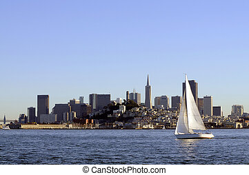 San Francisco Skyline at sunset coming into port, with a...